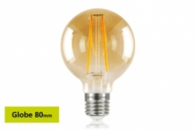 E27 LED 80 mm Globe 2,5W (40W) Filament Gloeilamp